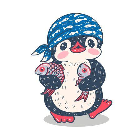 Illustration with funny cartoon penguin with fish. Vector. Ilustracje wektorowe