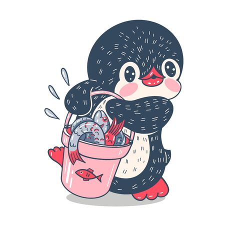 Illustration with funny cartoon penguin with fish.  Vector.