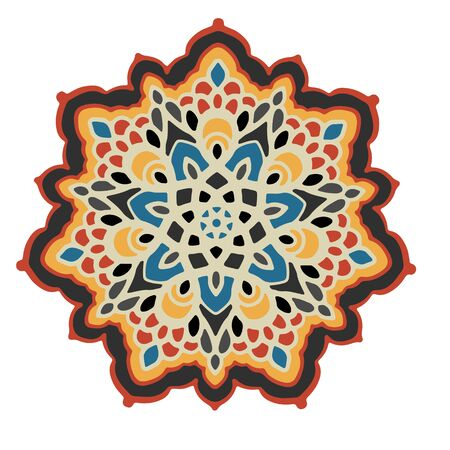 Multicolor mandala isolated on white  background.  Hand-drawn illustration. Vector. Banque d'images - 131208341