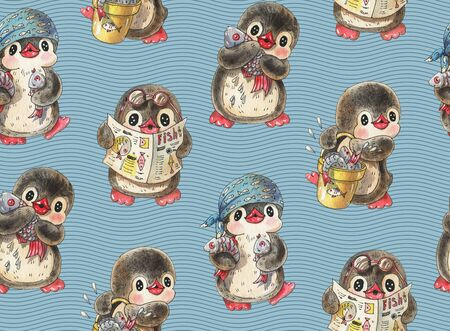 Seamless pattern. Cute penguins with fish.  Hand-drawn drawing with watercolor and ink.