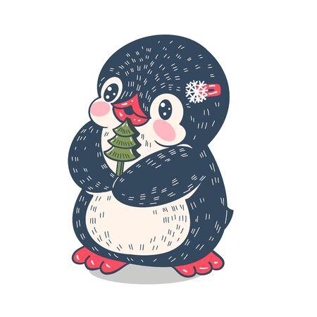 Winter illustration. Funny cartoon penguin with a toy treer. Vector. Ilustracja