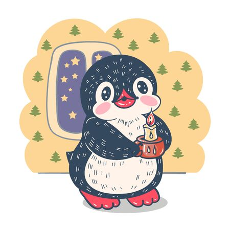 Winter illustration.  Funny cartoon penguin with a candle. Vector.