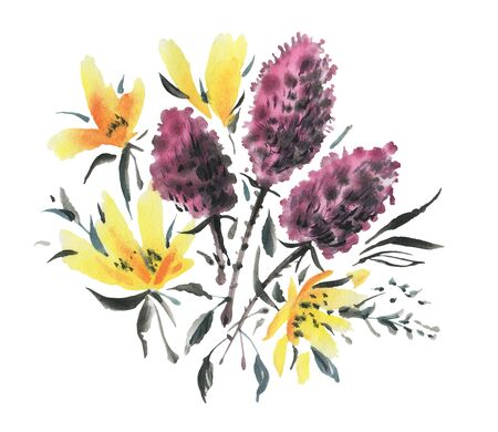 Watercolor  flowers isolated on a white background. Hand-drawn illustration.
