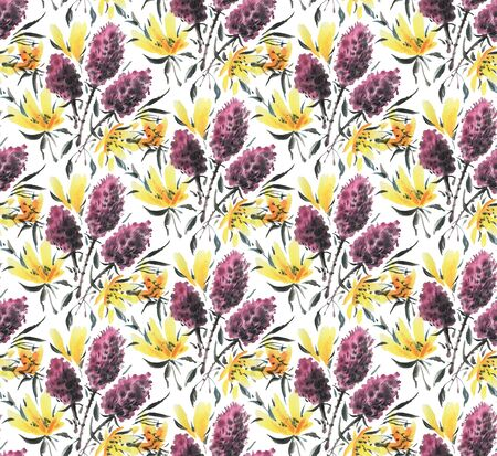 Seamless pattern with watercolor flowers. Hand-drawn illustration.