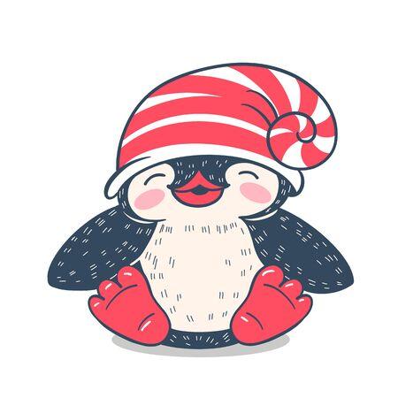 Winter illustration with funny cartoon penguin. Vector.