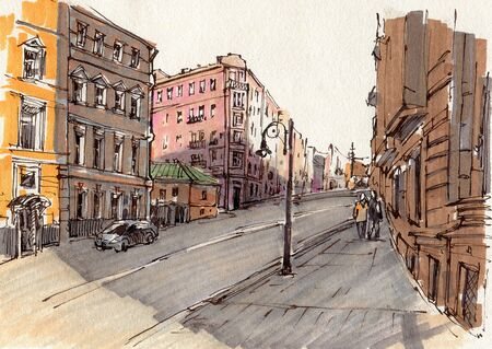 City landscape.  Sketch ink and  markers. Hand-drawn illustration. Imagens
