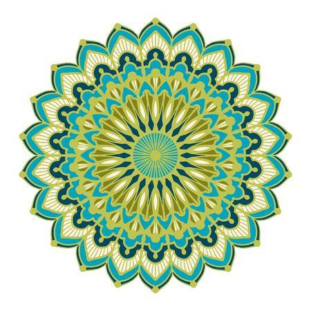 Multicolor mandala isolated on white  background.  Hand-drawn illustration. Vector.