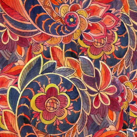 Seamless pattern with multicolor Paisley print.  Watercolor illustration. Stock Photo