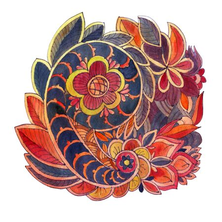 Decorative element in Doodle style, isolated on white background. Multicolor Paisley print . Watercolor drawing.