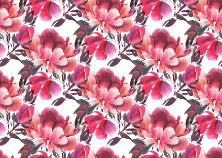 Seamless pattern with watercolor flowers.  Peonies. Hand-drawn illustration.