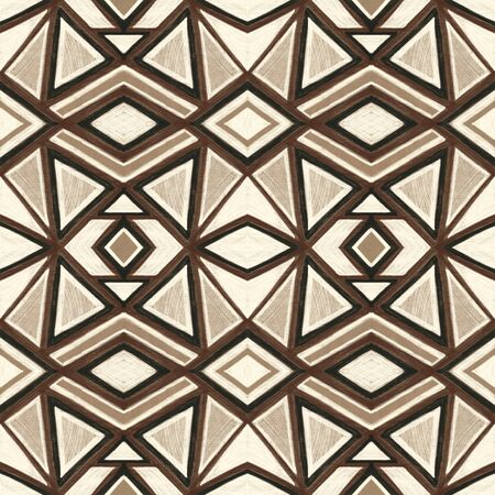 Seamless pattern with stylized ethnic pattern. Drawing in ink  on Kraft paper.  Hand-drawn illustration.