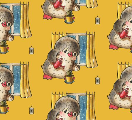 Seamless pattern with cute penguins.  Hand-drawn drawing with watercolor and ink. Stock Photo