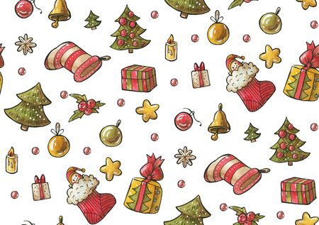 Seamless pattern with gifts.   Drawing in watercolor and ink.  Stock Photo