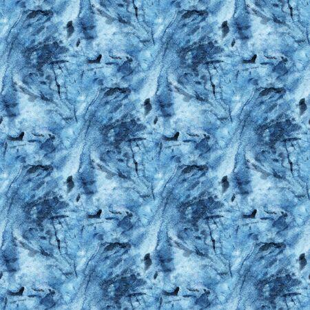 Seamless tie-dye pattern of indigo color on white silk. Hand painting fabrics - nodular batik. Shibori dyeing.  版權商用圖片