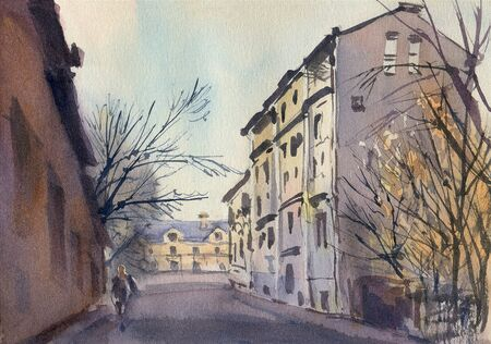 City landscape.  A sketch with watercolor. Hand-drawn illustration. 스톡 콘텐츠 - 132854379
