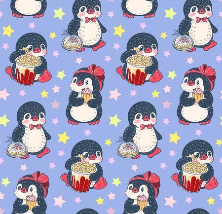 Seamless pattern with cute penguins. Hand-drawn illustration. Vector. Standard-Bild - 133363031