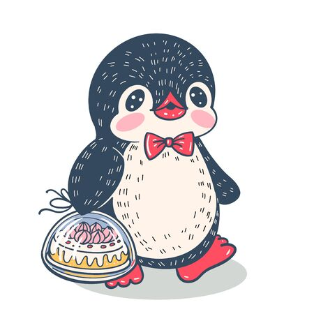 Winter illustration with funny cartoon penguin with cake. Vector.
