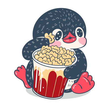Winter illustration with funny cartoon penguin with popped corn  Vector. Ilustracja