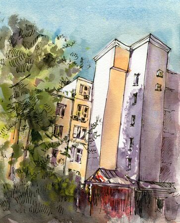 City landscape.  Sketch ink and watercolor. Hand-drawn illustration. 스톡 콘텐츠 - 133855863