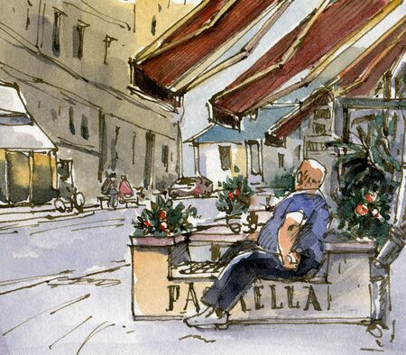 Urban sketch of a street cafe. background. Drawing in watercolor and ink. 스톡 콘텐츠 - 133855864