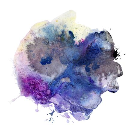 Watercolor spot, isolated on a white background.   Hand-drawn illustration.  Reklamní fotografie