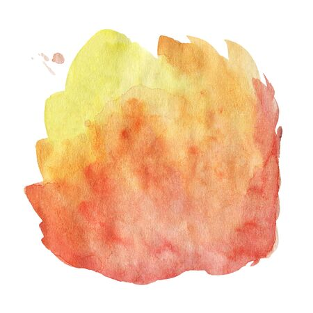 Orange Watercolor spot, isolated on a white background.   Hand-drawn illustration.