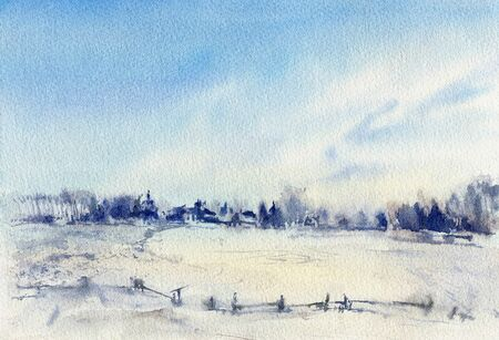 Winter landscape. A sketch with watercolor.   Hand-drawn illustration. Stock fotó