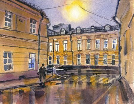City landscape. Night.  A sketch with watercolor. Hand-drawn illustration. 스톡 콘텐츠 - 133855874