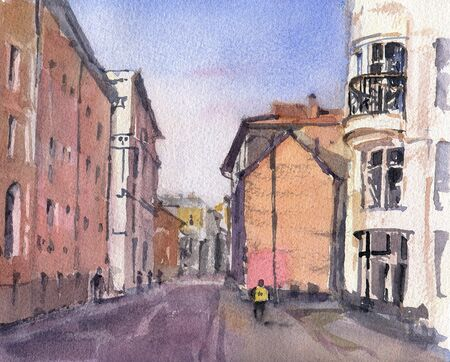 City landscape.  A sketch with watercolor. Hand-drawn illustration. Stock fotó