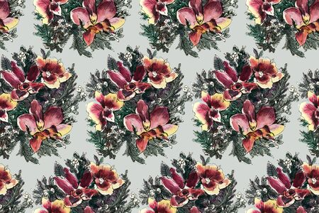Seamless pattern with watercolor flowers. Orchids.  Hand-drawn illustration.