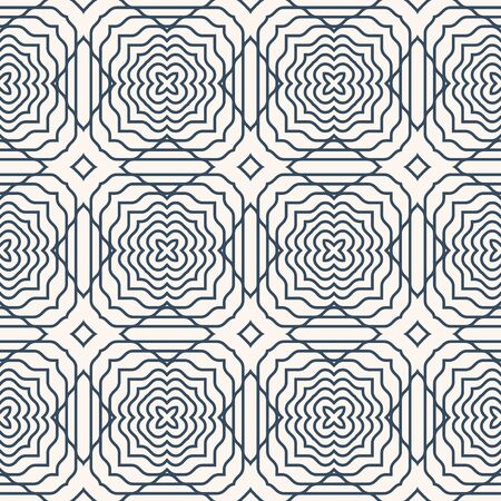 Black and white seamless background with a geometrical ornament.  Vector illustration