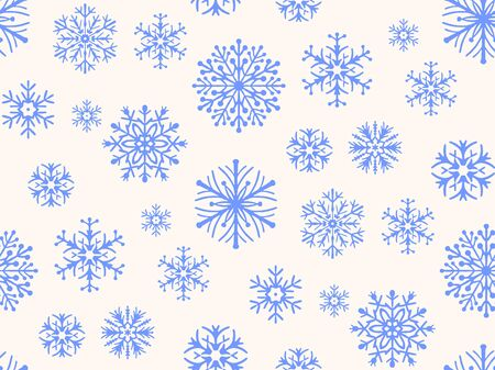 Seamless pattern with decorative snowflakes. Vector illustration.