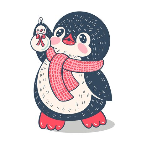 Winter illustration with funny cartoon penguin with snowman. Vector.