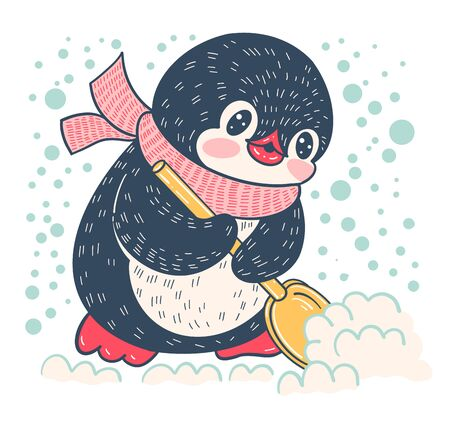 Winter illustration with funny cartoon penguin  removes snow shovel.  Vector. Çizim