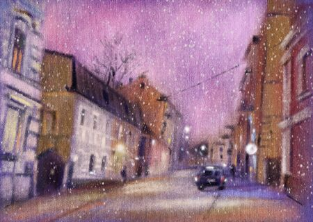 Urban landscape. Night Drawing with pastels. Hand-drawn illustration. Zdjęcie Seryjne