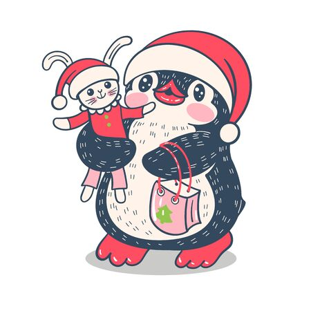 Winter illustration with funny cartoon penguin with a toy Bunny. Vector.