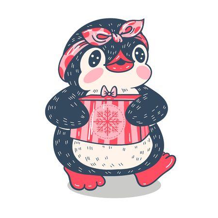 Winter illustration with funny cartoon penguin with a gift. Vector. Illusztráció