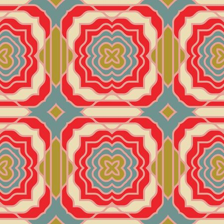 Seamless pattern with the simple geometrical drawing in retro style.  Vector illustration 向量圖像