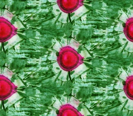 Seamless tie-dye pattern of green and red color on white silk. Hand painting fabrics - nodular batik. Shibori dyeing.