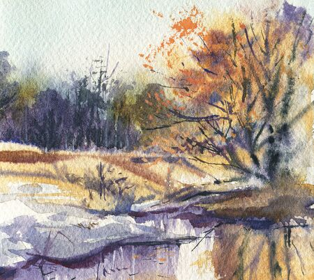 Winter landscape. A sketch with watercolor.   Hand-drawn illustration. 스톡 콘텐츠