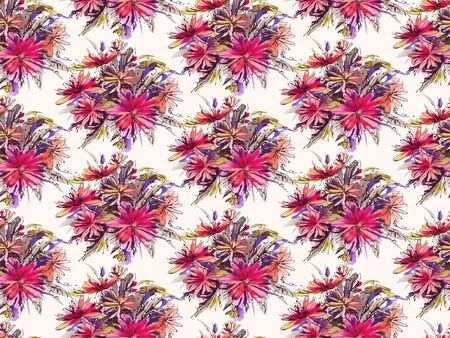 Seamless pattern with red  watercolor flowers. Hand-drawn illustration. 스톡 콘텐츠