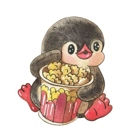 Winter illustration.  Funny cartoon penguin with popcorn,  isolated on a white background. Drawing in watercolor and ink. 版權商用圖片