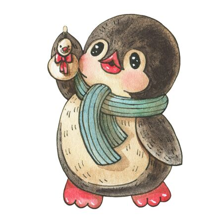 Winter illustration with funny cartoon penguin with  toy  snowman,  isolated on a white background. Drawing in watercolor and ink. Stock fotó