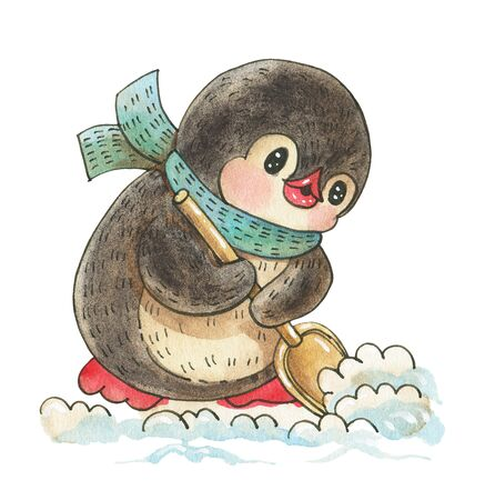 Winter illustration with funny cartoon penguin  removes snow shovel, isolated on a white background. Drawing in watercolor and ink.