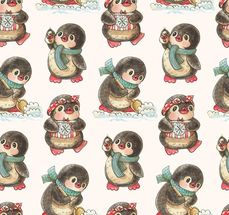Seamless pattern with cute penguins.  Hand-drawn drawing with watercolor and ink. Stok Fotoğraf