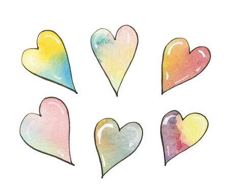 Watercolor hearts isolated on white background.  Hand-drawn illustration. 스톡 콘텐츠