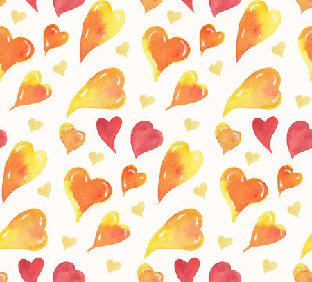 Seamless pattern with hearts in doodle style.