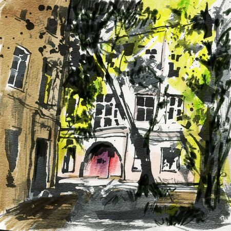 Urban sketch.  Street in the city centre. Drawing markers. Hand-drawn illustration. Reklamní fotografie - 134977084