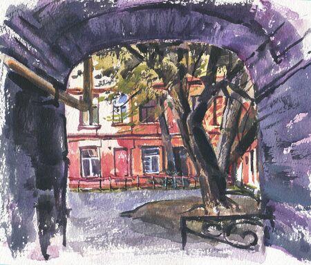 City landscape.  A sketch with watercolor. Hand-drawn illustration. Reklamní fotografie