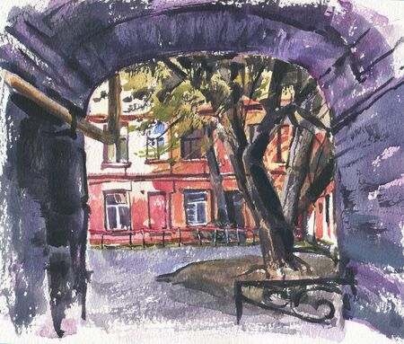City landscape.  A sketch with watercolor. Hand-drawn illustration. Stock Photo